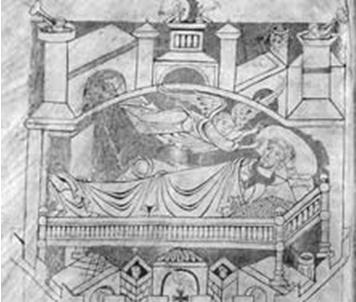 Видение св. Обера (с манускрипта XII в.)