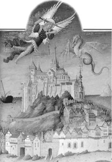 Битва св. Михаила с драконом (с миниатюры нач. XV в. из «Весьма поучительных часов герцога де Бери»)