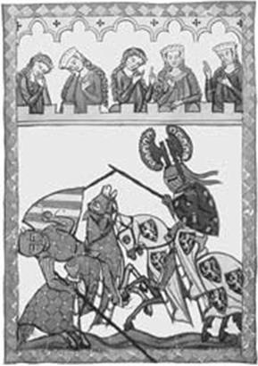 Рыцарский поединок (с манускрипта XIV в.)