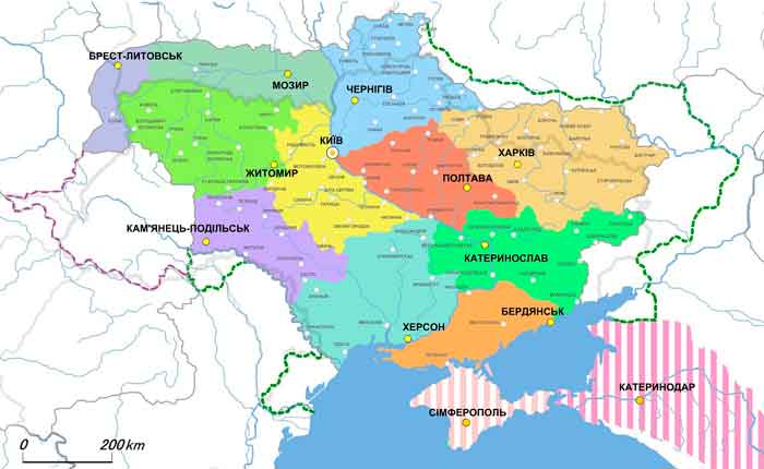 карта губернского устройства и этнических границ украинцев в начале 20 века