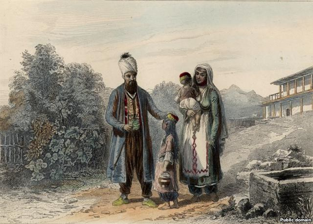 Семья крымских татар. 1835. Раскрашенная гравюра