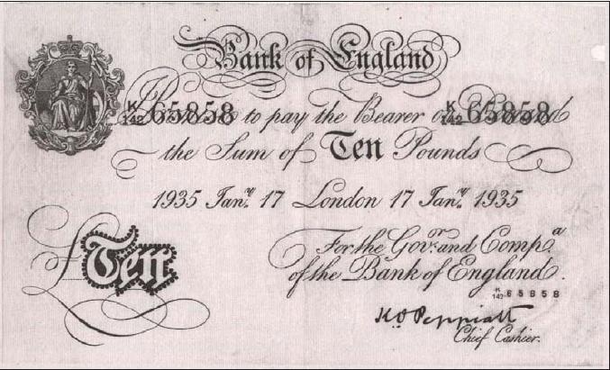 Фальшива банкнота вартістю 10 фунтів-стерлінгів