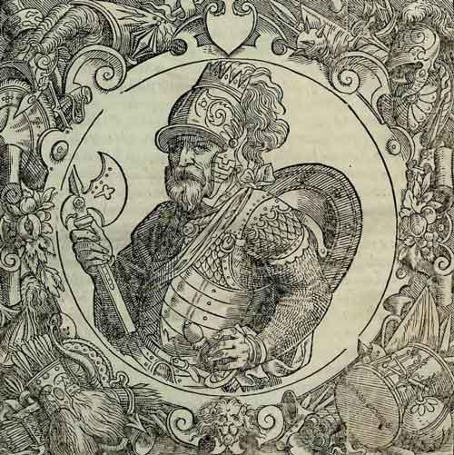 Скиргайло. Гравюра из издания «Описание Европейской Сарматии» Гваньини (1581), это же изображение использовано составителем и как портрет легендарного князя Крака