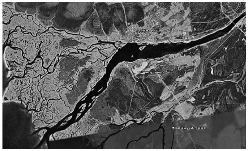Рис. 3. Дельта реки Кубены (снимок из космоса, 2006 г.)