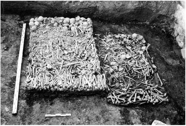Рис. 9. Нижний ярус перезахоронений, предположительно, совершённых во время строительства Софийского собора