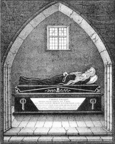 Тело герцога Карла де Кроа в церкви святого Николая (Нигулисте) в Ревеле. Художник Г. Криге. 1839 г.