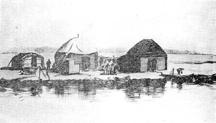 Старинные летники-поварни на рыбацком стане «Ахтач» в 1936 году (в настоящее время снесены)