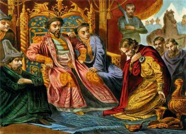 Александр Невский гостит у названного отца Батыя и сводного брата Сартака