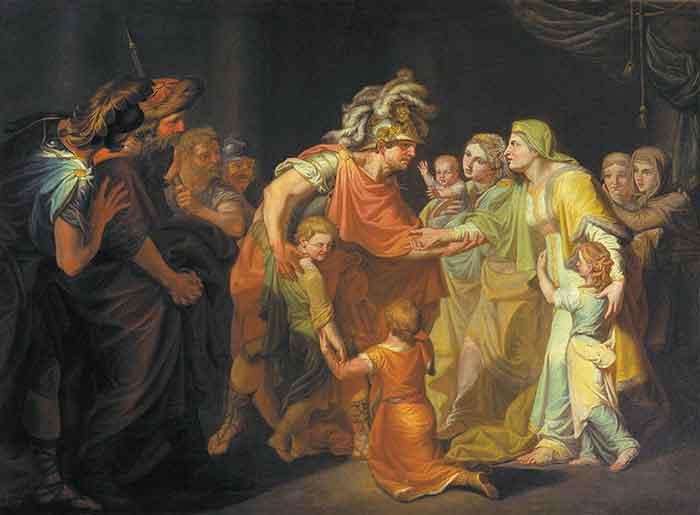 Великий князь Святослав, целующий мать и детей своих по возвращении с Дуная в Киев. И. А. Акимов, 1773 г.