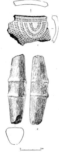 Находки со стоянок Вакерной и Чикаевской. 1 — обломок глиняного сосуда; 2 — расщепляющее тесло