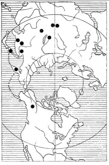 Распространение «нуклеусов-скребков» Карта составле¬на по данным Тейяра де Шардена, А. П. Окладникова, Честера Чарда и автора