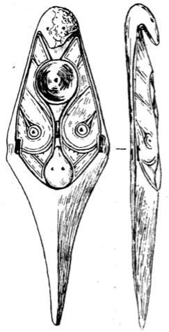 Бляшка-застежка из моржового клыка из погребения № 2 Уэленского могильника (3/4 н. в )
