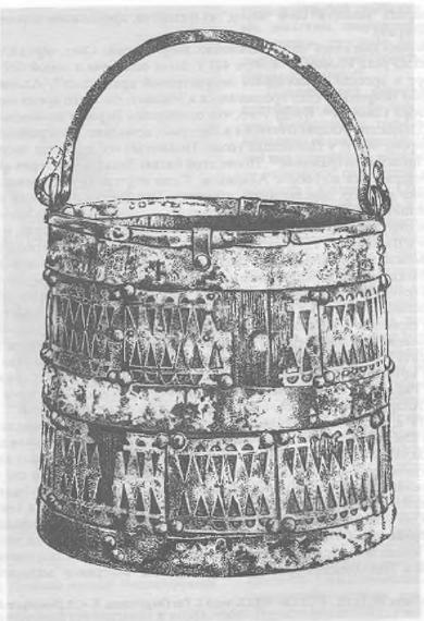 Рис. 17. Деревянное ведро с бронзовой обивкой из вандальского женского погребения IV в. Словакия