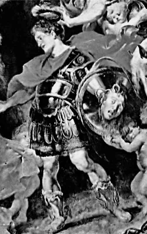 Фрагмент картины П.П. Рубенса «Персей и Андромеда». 1620–1621 годы. Персей изображен в виде средневекового рыцаря в железных латах, на его щите – отрубленная голова Горгоны-Медузы
