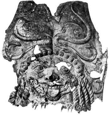 Часть бронзового (скифского) панциря с изображением. Медузы из кургана у ст. Елизаветинской. Собрание Эрмитажа [792], с. 81