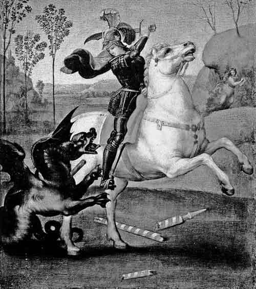 Картина Рафаэля «Св. Георгий, побеждающий дракона». Так же изображают и «античного» Персея, поражающего чудовище и освобождающего цесаревну. Практическое тождество обоих сюжетов – Персей-дракон-царевна и Георгий-дракон-царевна – хорошо видно из картины Рафаэля