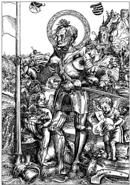 «Святой Георгий». Гравюра Луки Кранаха, якобы 1506 года. Георгий Победоносец представлен здесь как средневековый рыцарь в глухих железных латах