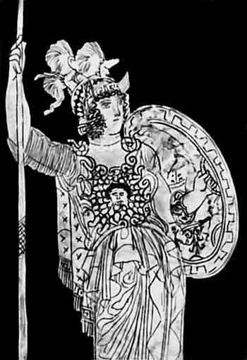 Богиня войны Афина. Фрагмент росписи краснофигурной гидрии Мидия. Якобы конец V – начало IV века до н. э. Карлсруэ, Музей земли Баден
