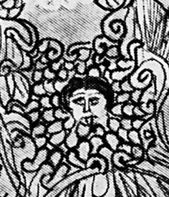 увеличенный фрагмент росписи. Эгида Афины с головой Медузы-Горгоны