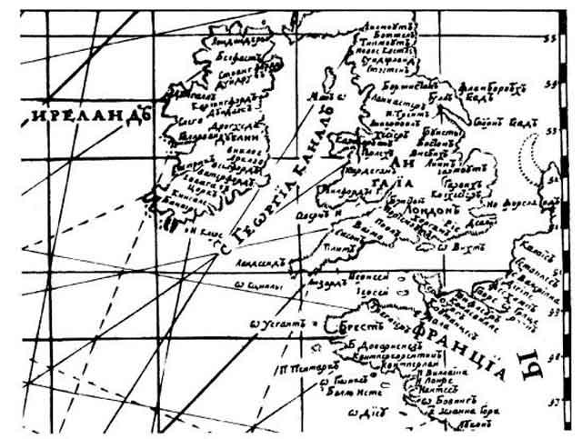 Пролив под названием Канал Святого Георгия, отделяющий Англию от Ирландии. Фрагмент русской военно-морской карты 1750 года