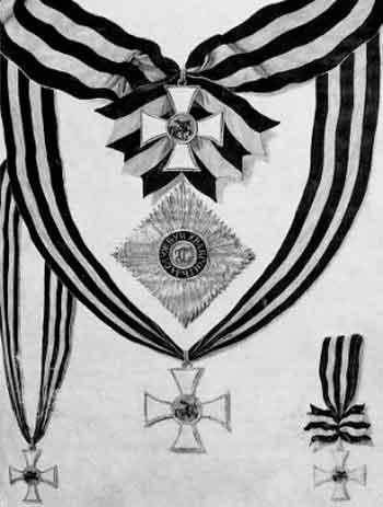 Изображение знаков ордена Святого Георгия Победоносца в статусе 1769 года. Государственный историко-культурный музей-заповедник «Московский Кремль»