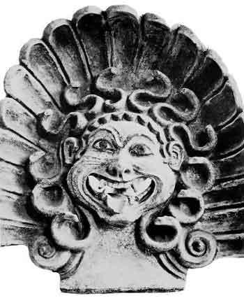 Эт-русская скульптура, изображающая голову Горгоны Медузы. Якобы 500 год до н. э. Рим., музей «Museo di Villa Giulia»