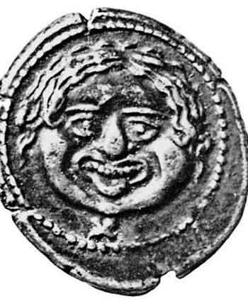 Старинная эт-русская бронзовая монета с головой Горгоны Медузы. Флоренция, Археологический Музей. Монету относят якобы к IV–III векам, до н. э. Однако скорее всего, монета происходит из эпохи XIV–XVI веков с георгиевской имперской символикой