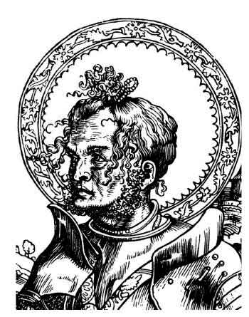 увеличенное изображение головы Святого Георгия Победоносца с гравюры Луки Кранаха, якобы 1506 года. Волосы Георгия изображены напоминающими извивающихся змей