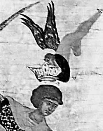 увеличенный фрагмент иконы «Чудо Георгия о Змие» с изображением, царской короны над головой Георгия