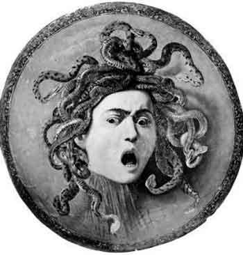 Картина художника Караваджо «Голова Медузы». Написана якобы в XVI веке. Холст, натянутый на щит из дерева тополя. Хранится в Галерее Уффици. Подарок кардинала Дель Монте Великому герцогу Фердинандо I Медичи для украшения флорентийского АРСЕНАЛА В КАЧЕСТВЕ ПАРАДНОГО ЩИТА. Предположительно датируется историками между 1595 и 1597 гг