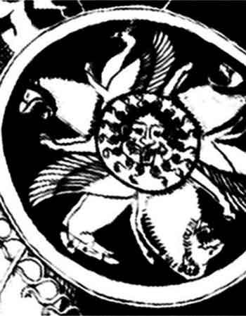 увеличенный фрагмент росписи. Щит Афины, на котором, прикреплена голова Горгоны Медузы.