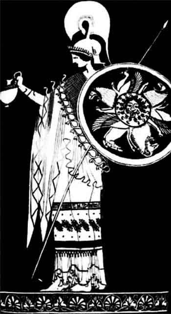 Богиня войны Афина. Деталь росписи краснофигурной амфоры «берлинского художника». Якобы 490–480 годы до н. э. Базель, Античный музей