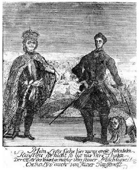 Петр I и Карл XII. Немецкая гравюра. 1728 г.