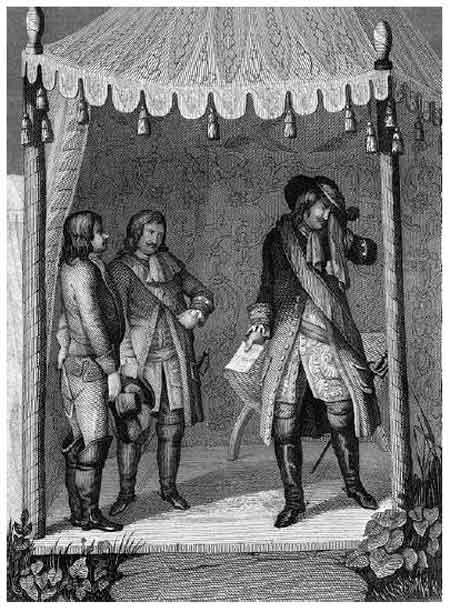 Петр I плачет о смерти Карла XII. Немецкая гравюра. 1841 г.