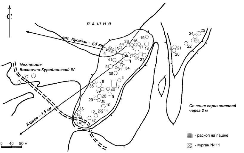 План могильника Восточно-Курайлинский I.