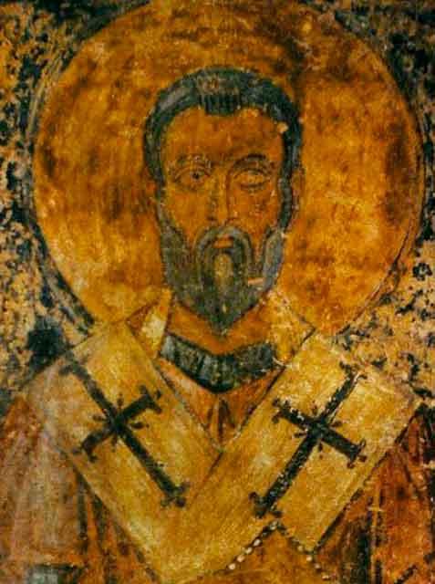 Св. Капитон, епископ Херсонский, фреска южной внутренней галереи Собора св. Софии, Киев