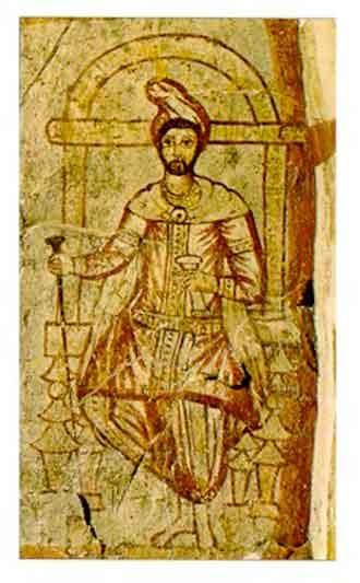 Заратуштра на фреске III века из античного города Дура-Европос (Сирия)