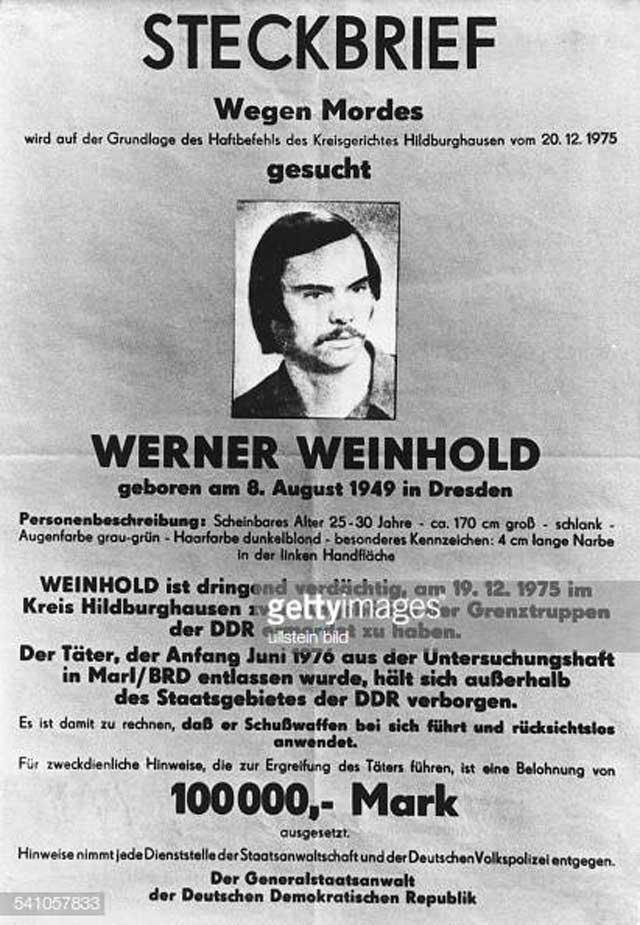 На поимку Вайнхольда поднято 8000 человек. Расклеены объявления с его приметами, по телевидению каждый час передают ориентировки на беглеца