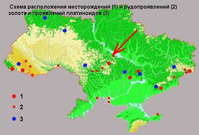 Червоною стрілкою на карті [7] позначені поклади золота між Черкасами та Чигирином (приблизно в районі Медведівки, Трушівців та Боровиці)