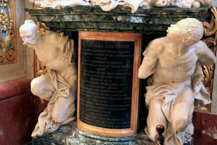 Однією з загадок, яка пов'язує Мальтійський орден і Україну, є скульптурний надгробок Великого Магістра Ніколаса Котонера, який помер у 1680 році. Його можна побачити в Соборі Святого Іоанна на Мальті. Бюст Великого магістра підтримують дві фігури: африканець і запорізький козак