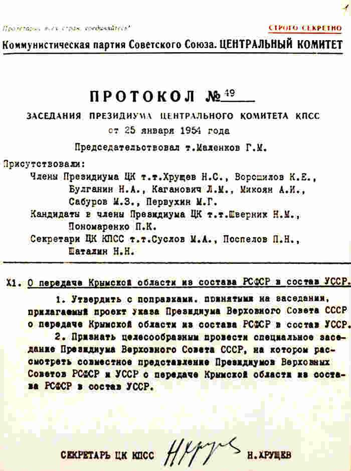 На заседании Президиума ЦК КПСС под председательством главы советского правительства Георгия Маленкова принимается принципиальное решение о включении Крыма в состав Украины