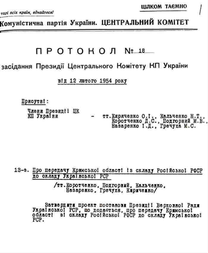 Президиум ЦК КПУ утверждает проект постановления Президиума Верховного Совета УССР о передаче Крыма