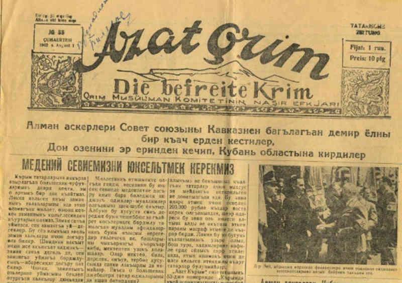 11 января 1942 года вышел первый номер газеты «Azat Kirim» или «Azat Qr305;m», на кириллице «Азат Кърым» («Свободный Крым» – на крымскотатарском языке.
