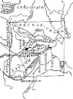 Карта Скифии, реконструированная по данным Геродота, Ареалы археологических культур: 1 – чернопесской (будины); П – воронежской группы (будины, 2-й надел); 111 – милоградский (невры); IV - юхновский (меланхлены)