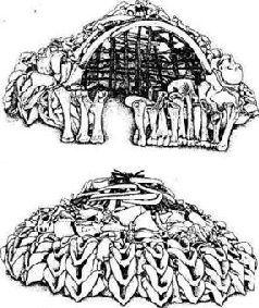 Реконструкция жилищ, сооруженных из костей мамонтов