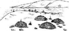 Реконструкция общего вида поселения охотников на мамонтов (Межерич)