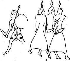 Египетские изображения «народов моря»: 1 – из Луксора; 2 – из Миднет Хабу