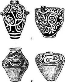 Глиняная посуда минойской (1) и трипольской (2) культур