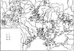 Памятники культуры ранней бронзы. I - катакомбная культурно-историческая общность; II – культура шнурковой керамики; III - городско-здоябецкая культура.