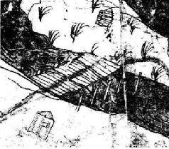 Фрагмент карты-схемы Киева Ушакова с мостами через Днепр. 1695 г.